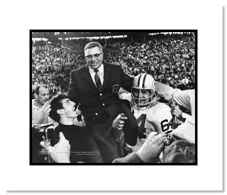 Vince Lombardi Green Bay Packers Double Matted 8x10 Photograph Carried off the Field