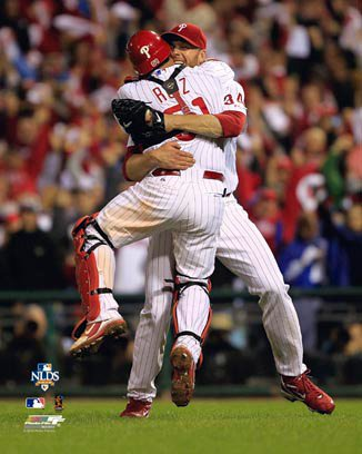 Roy Halladay Philadelphia Phillies 8x10 Photograph 2010 NLDS Perfect Game Hug with Carlos Ruiz