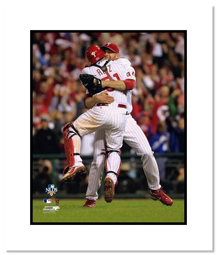 Roy Halladay Philadelphia Phillies Double Matted 8x10 Photograph 2010 NLDS Perfect Game Hug with Carlos Ruiz