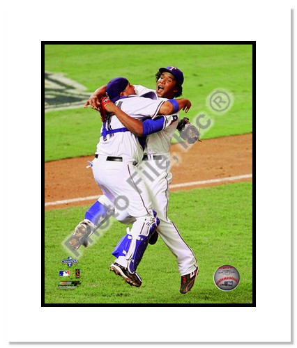 Neftali Feliz and Bengie Molina Texas Rangers Double Matted 8x10 Photograph 2010 ALCS Celebration