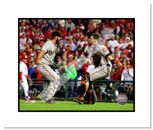 Brian Wilson and Buster Posey San Francisco Giants Double Matted 8x10 Photograph 2010 NLCS Celebration