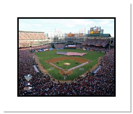 2010 World Series Texas Rangers Double Matted 8x10 Photograph Game 3 USA Flag