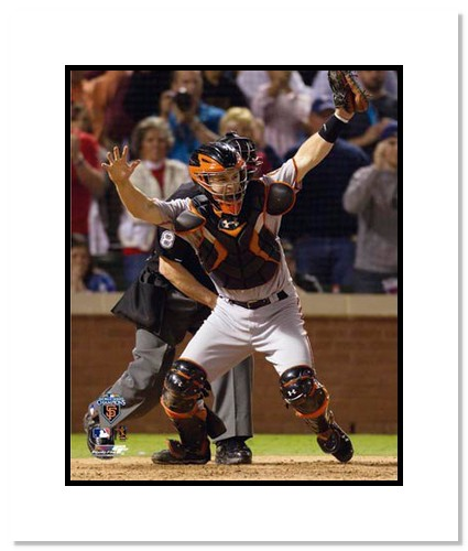 Buster Posey San Francisco Giants Double Matted 8x10 Photograph 2010 World Series Game 5 Celebration