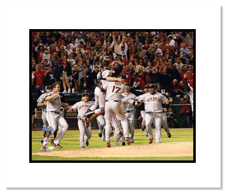 2010 World Series San Francisco Giants Double Matted 8x10 Photograph Team Celebration 1