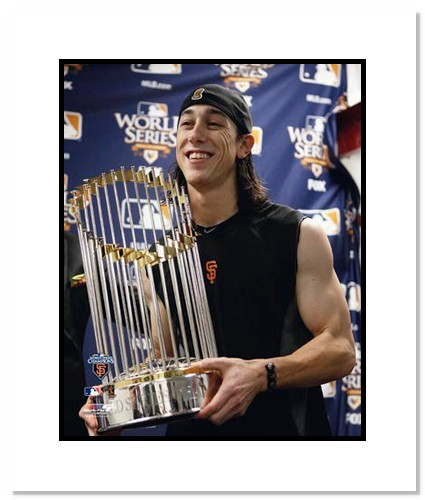 Tim Lincecum San Francisco Giants Double Matted 8x10 Photograph 2010 World Series Trophy