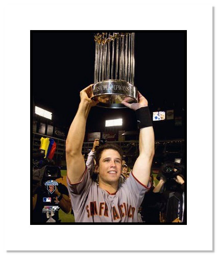 Buster Posey San Francisco Giants Double Matted 8x10 Photograph 2010 World Series Trophy