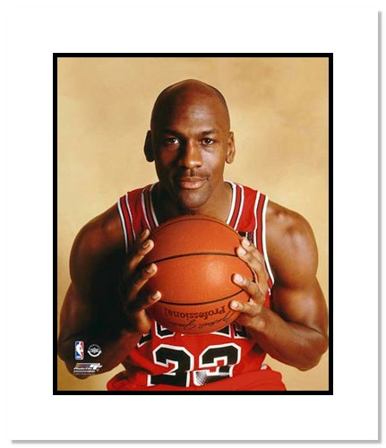 Michael Jordan Chicago Bulls NBA Double Matted 8x10 Photograph Holding Basketball