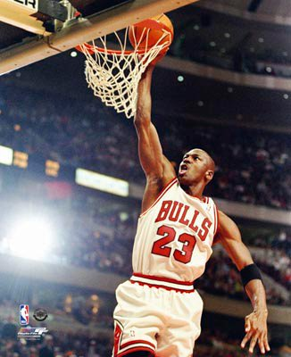 Michael Jordan Chicago Bulls NBA 8x10 Photograph Dunking White Jersey