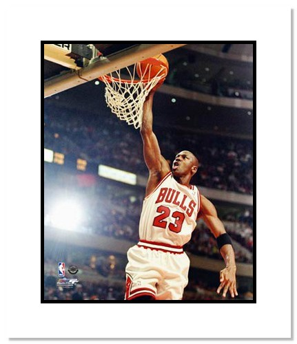 Michael Jordan Chicago Bulls NBA Double Matted 8x10 Photograph Dunking White Jersey