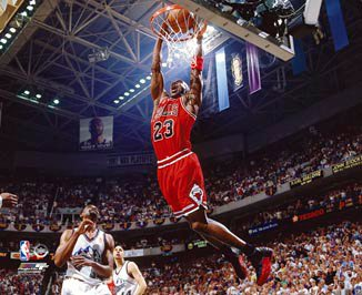 Michael Jordan Chicago Bulls NBA 8x10 Photograph Dunking Red Jersey vs Utah Jazz