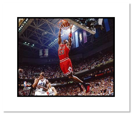 Michael Jordan Chicago Bulls NBA Double Matted 8x10 Photograph Dunking Red Jersey vs Utah Jazz