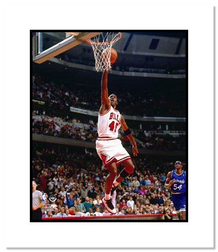 Michael Jordan Chicago Bulls NBA Double Matted 8x10 Photograph Dunking White Jersey #45