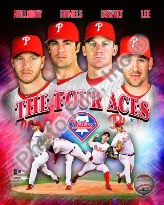 2011 Philadelphia Phillies Four Aces MLB 8x10 Photograph Halladay, Oswalt, Hamels and Lee Collage