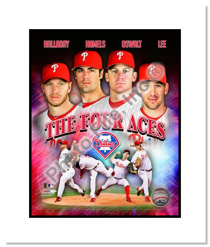 2011 Philadelphia Phillies Four Aces MLB Double Matted 8x10 Photograph Halladay, Oswalt, Hamels and Lee Collage