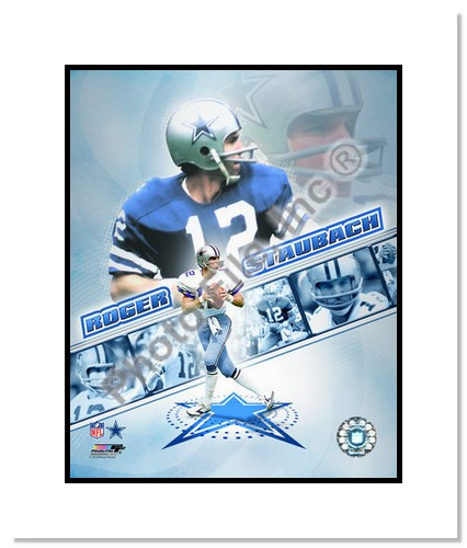 Roger Staubach Dallas Cowboys NFL Double Matted 8x10 Photograph Portrait Plus Collage