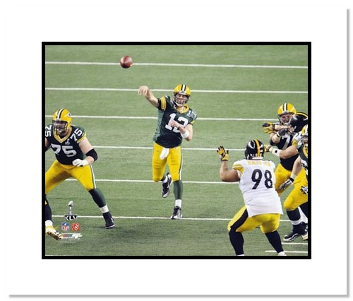Aaron Rodgers Green Bay Packers NFL Double Matted 8x10 Photograph Super Bowl XLV Passing 1