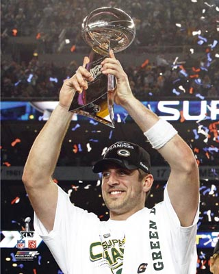 Aaron Rodgers Green Bay Packers NFL 8x10 Photograph Super Bowl XLV Holding Lombardi Trophy