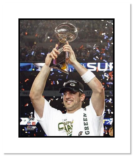 Aaron Rodgers Green Bay Packers NFL Double Matted 8x10 Photograph Super Bowl XLV Holding Lombardi Trophy