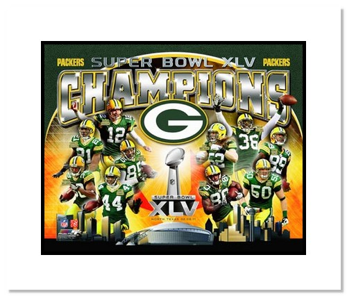 2011 Green Bay Packers NFL Double Matted 8x10 Photograph Super Bowl XLV Champions Collage