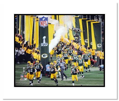 2011 Green Bay Packers NFL Double Matted 8x10 Photograph Super Bowl XLV Team Introduction