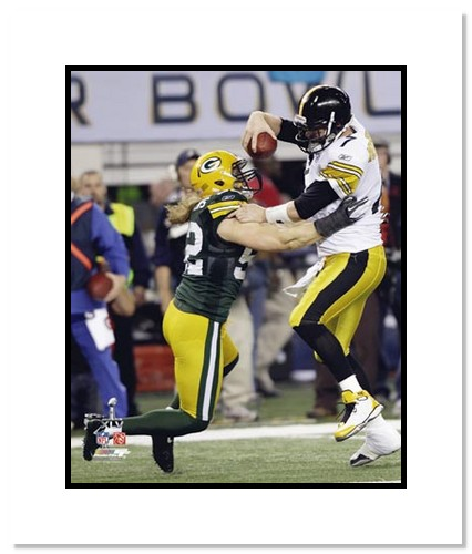 Clay Mathews Green Bay Packers NFL Double Matted 8x10 Photograph Super Bowl XLV Sacking Big Ben