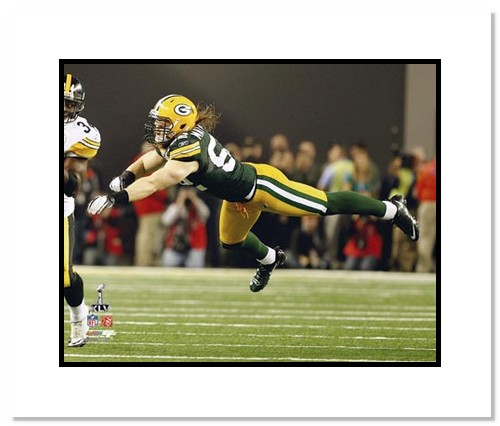 Clay Mathews Green Bay Packers NFL Double Matted 8x10 Photograph Super Bowl XLV Diving Tackle