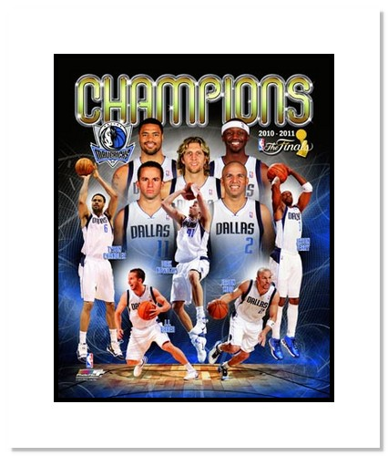 2010/11 Dallas Mavericks NBA Double Matted 8x10 Photograph NBA Finals Champs Collage