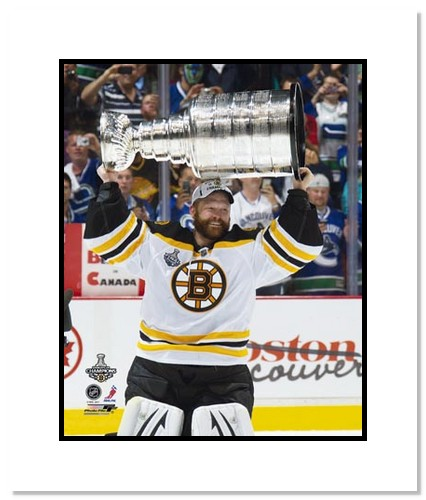 Tim Thomas Boston Bruins NHL Double Matted 8x10 Photograph Stanley Cup Champs with Cup