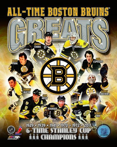 Boston Bruins All Time Greats NHL 8x10 Photograph Stanley Cup Champs Collage