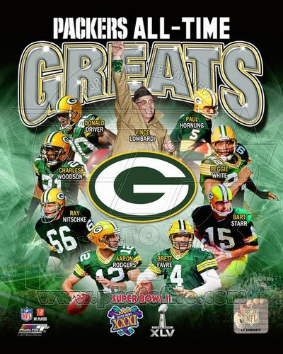 Green Bay Packers All Time Greats NFL 8x10 Photograph Super Bowl Champs Collage