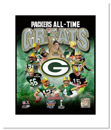 Green Bay Packers All Time Greats NFL Double Matted 8x10 Photograph Super Bowl Champs Collage