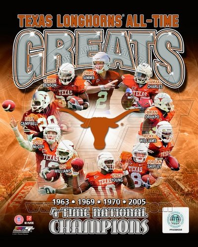 Texas Longhorns All Time Greats NCAA 8x10 Photograph National Champs Collage