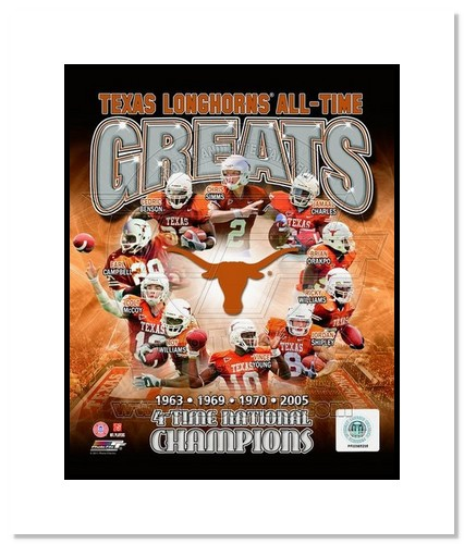 Texas Longhorns All Time Greats NCAA Double Matted 8x10 Photograph National Champs Collage