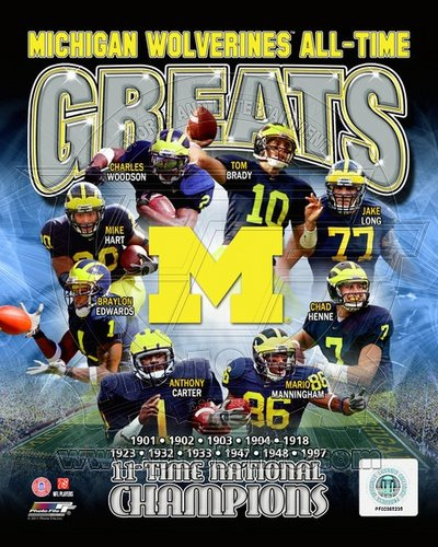 Michigan Wolverines All Time Greats NCAA 8x10 Photograph National Champs Collage