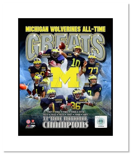 Michigan Wolverines All Time Greats NCAA Double Matted 8x10 Photograph National Champs Collage