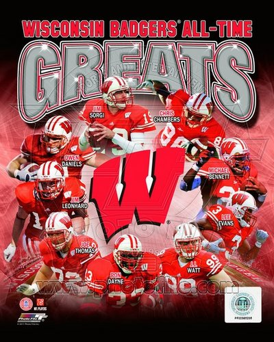Wisconsin Badgers All Time Greats NCAA 8x10 Photograph Collage