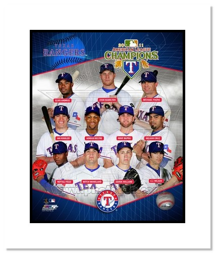 2011 Texas Rangers MLB Double Matted 8x10 Photograph American League Champions Team Collage