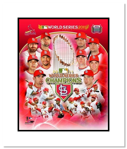 2011 St Louis Cardinals MLB Double Matted 8x10 Photograph World Series Champions Team Collage