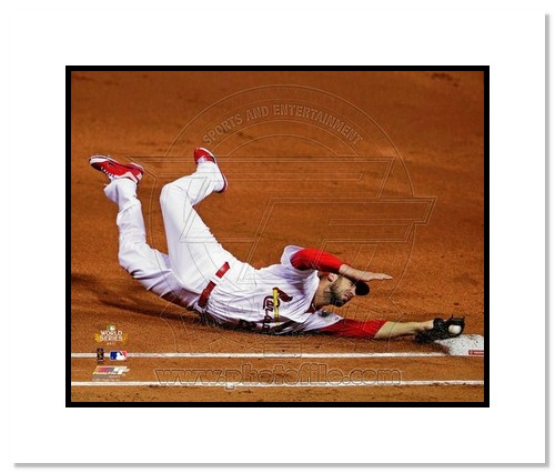 Chris Carpenter St Louis Cardinals MLB Double Matted 8x10 Photograph 2011 World Series Game 1 1st Base Dive