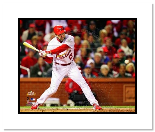 Lance Berkman St Louis Cardinals MLB Double Matted 8x10 Photograph 2011 World Series Game 1 RBI Single
