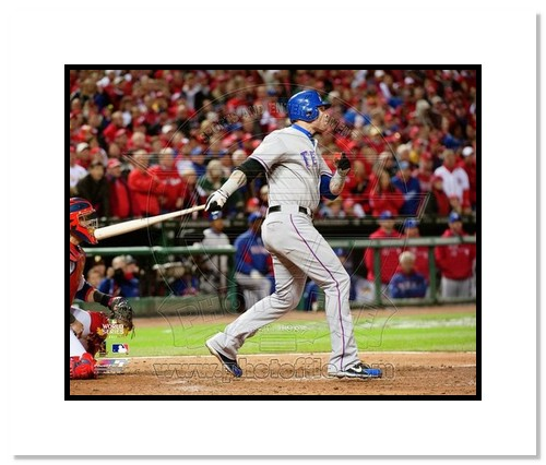 Josh Hamilton Texas Rangers MLB Double Matted 8x10 Photograph 2011 World Series Game 2