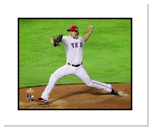 Derek Holland Texas Rangers MLB Double Matted 8x10 Photograph 2011 World Series Game 4