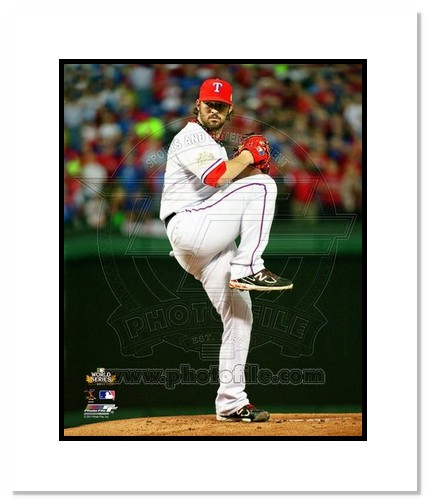CJ Wilson Texas Rangers MLB Double Matted 8x10 Photograph 2011 World Series Game 5