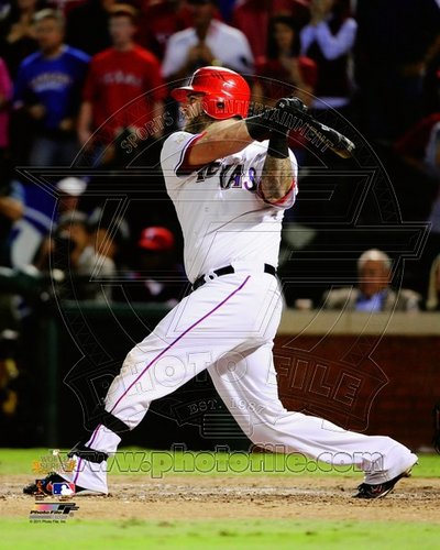 Mike Napoli Texas Rangers MLB 8x10 Photograph 2011 World Series Game 5 Double Swinging