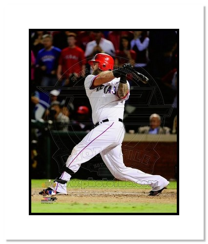 Mike Napoli Texas Rangers MLB Double Matted 8x10 Photograph 2011 World Series Game 5 Double Swinging