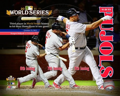 Albert Pujols St Louis Cardinals MLB 8x10 Photograph 2011 World Series 3 HR Game Collage