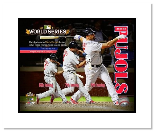 Albert Pujols St Louis Cardinals MLB Double Matted 8x10 Photograph 2011 World Series 3 HR Game Collage