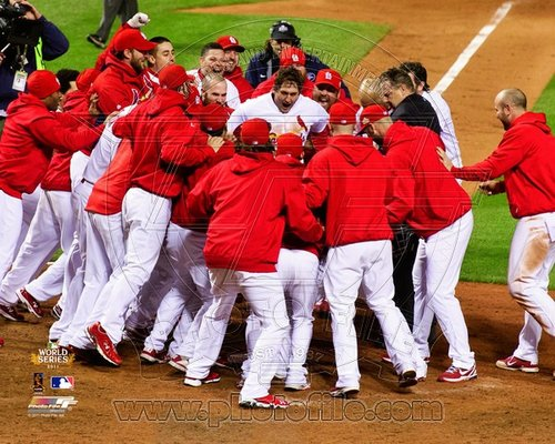 David Freese St Louis Cardinals MLB 8x10 Photograph 2011 World Series Game 6 Walk Off Celebration