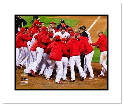 David Freese St Louis Cardinals MLB Double Matted 8x10 Photograph 2011 World Series Game 6 Walk Off Celebration