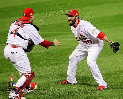 Jason Motte and Yadier Molina St Louis Cardinals MLB 8x10 Photograph 2011 World Series Last Out